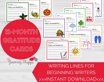 Gratitude Note Cards for Kids & Families with Writing Lines for Beginning Writers ~ Designs for Each Month of the Year ~ Instant Download