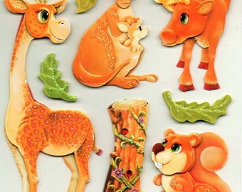 Zoo Animals Forest  3d Glitter Stickers Scrapbook Embellishments Cardmaking Crafts Forever In Time
