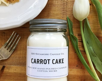 16 oz. Carrot Cake Hand Poured Pure Soy Candle with Cotton Wick