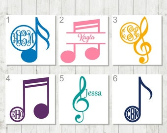 Music Note Monogram, Music Monogram, Treble Clef Decal, Decal for Musician, Music Teacher Gifts, Band Instructor Gift, Music Lover Decal
