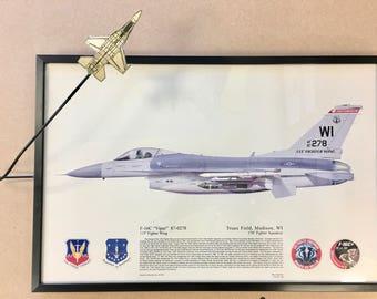 F-16C Viper Framed Display Aviation Wall Decor PI-0113