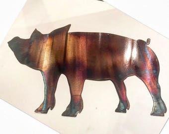 Metal Pig, Laser Cut Pig, Patina Wall decor, Pig home decor, metal pig yard art, yard art, metal wall art, Laser cut wall art, Laser cut art