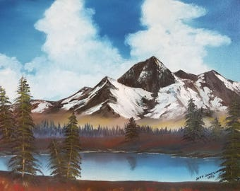 Nature painting print, Bob Ross style, of my original oil painting Mountain Lake