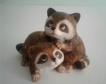 Vintage Raccoon Figurine by Homco  Porcelain Figurine with Raccoons