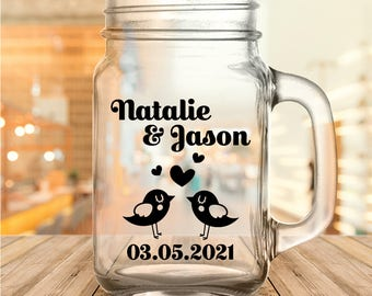 Custom Love Birds Wedding Favor Mason Jars