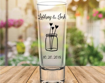 Custom Mason Jar Tall Wedding Favor Shot Glasses