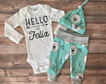 Mint Polar Bear Newborn Coming Home Outfit, Boy Coming Home Outfit, Boy Going Home Outfit, Newborn Boy Outfit, Hello World, Hello Newborn
