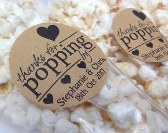 12 x Thanks for popping by stickers, Thanks for popping by label, popcorn favour stickers, popcorn favour labels, popcorn favours, 185