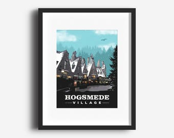 Hogsmeade Village, Poster, Print, Harry Potter, FIlm Art