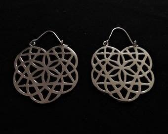 White brass Seed of life hoop earrings, white brass earrings, sacred geometry earrings, indian earrings, sacred earrings,