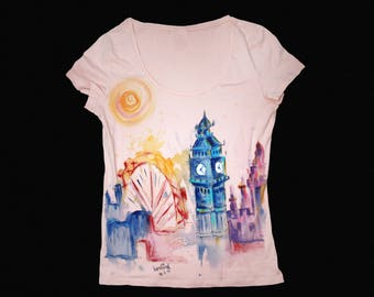 London skyline, cute t shirts, watercolor travel, London t shirt, watercolor t shirt, hand painted t shirt, London illustration, pink tshirt