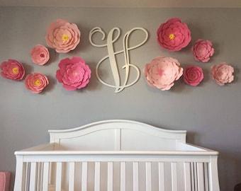 Big Paper Flowers, Paper Flower Background, Big Paper Roses, Paper Flowers, Pink Big Paper Flowers, Flowers for above Crib, Flower Decor