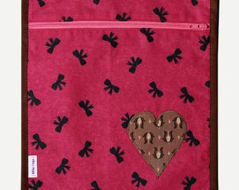 SALE printed layers and application heart with printed lining knots pouch. * 9 instead of 16th *.