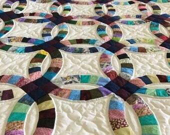Amish Double Wedding Ring Quilt Handmade entirely of batik