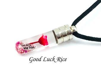 TUBE VIAL PENDANT. Best Price on Custom Made Necklace with Name, Rice Necklace, Name on Rice Jewelry.