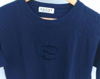 Gucci Embroidered Logo T-shirt Small Medium Made in Italy