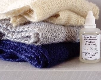 No rinse wool wash 50ml Lavender and Eucalyptus - knitwear wash - traditional woolen laundry liquid - hand wash laundry supplies
