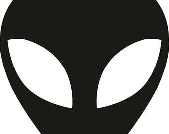 Alien head Clipart, AI, SVG, DXF, Eps, Png, Cdr, Silhouette, Clip art, Vector, Digital Download