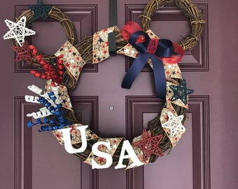 Custom Mickey Shaped Wreath - Disney Wreath- Holiday Wreath- Grapevine Wreath - Large size
