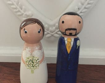 Bride and Groom Peg Doll Wedding Cake Toppers, Personalised Handmade Wood Gift