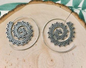 Spiral Mandala hoop earrings , brass