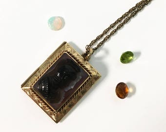 Vintage 10K Yellow Gold & Sardonyx Cameo Locket Necklace - Antique Rectangular Cameo on 12K Gold Filled Chain - Pendant Locket Necklace