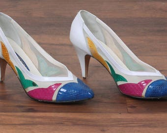 Vintage 80s Jasmin Snakeskin Pumps // White Sheer Mesh High Heels Leather Shoes - US Size 7