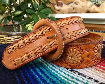 Vintage Hand Tooled Leather Woven Belt Size 32 XS