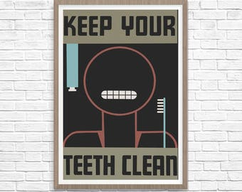 WPA Poster, Keep Your Teeth Clean, WPA Art, Fine Art Print, Giclee Print, Wall Decor, Wall Art, Vintage Art