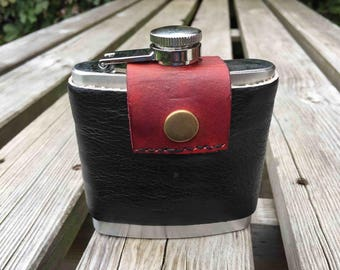Upcycled leather stainless steel flask