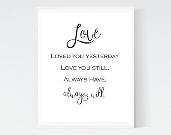 Love You Print, Printable Wall Art, Home Decor, Wall Art, Printables, Downloads, Digital File, Modern Wall Art, Modern prints,Love you print