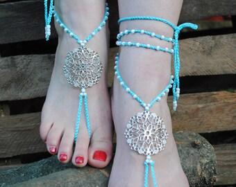 barefoot sandals blue crochet barefoot sandals