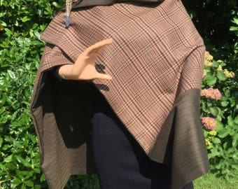 Lined tweed wrap / poncho / cape
