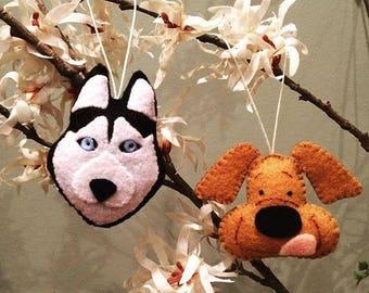Handmade Felt Dog Ornament