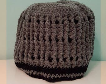 Women's Messy Bun Crocheted Hat -Gray/Black