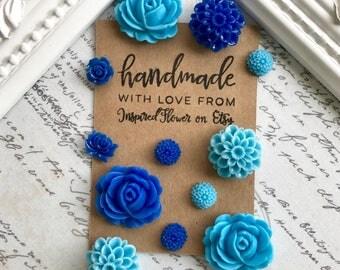 12 Blue Flower Magnets, Sky Blue Flower Magnets, Light Blue Flower Magnets, Dark Blue Flower Magnets, Flower Magnets