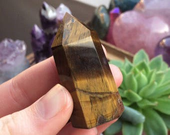 High Quality Golden Tigers Eye Standing Crystal Wand/Point