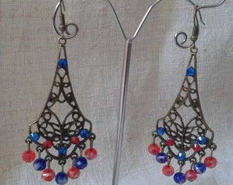 faceted beads and bronze earrings