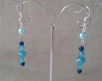 "Earrings ""stalactites of blue beads"""