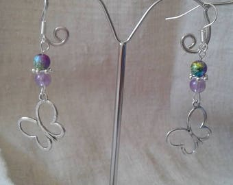 "Earrings ""butterfly and beads"""