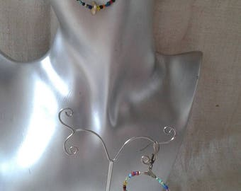 Earrings hoops multicolored beads