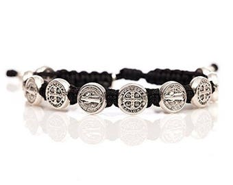 Blessing St. Benedict bracelet - with silver medals from Medjugorje