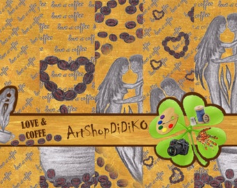 Coffee, Hand drawn, digital paper, designer paper, Valentines Digital Paper, Printable paper, digital download, instant download, Scrapbook