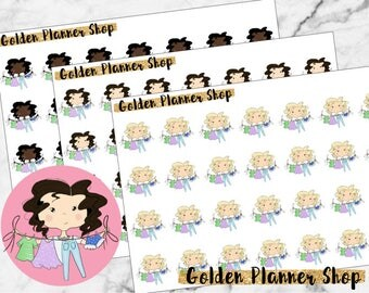 Laundry Character Planner Stickers - Sophie and Amanda