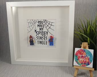 Shadow Box Frame//Superhero//Spiderman//Minifigures//For Him//For Her//Marvel//Personalise//Geek//Gift//Birthday//Anniversary//Engagement