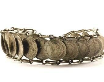 Vintage 1941 10 Cent Coin Wilhelmina Koningin Der Nederlanden Links Bracelet Silver BR 1484