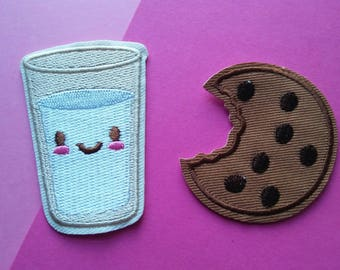 COOKIE MILK-Iron On Patch/Clothing Patch/Applique/Sewing Supplies/Food Patch/Children's Patch/Embroidered Patches/Easter Gift