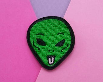 Funny Alien Iron On Patch/Sticking out Tongue/Applique/Embroidered Patch/Clothing Patch/Backpack Patch/Funny Patches/Space Patch