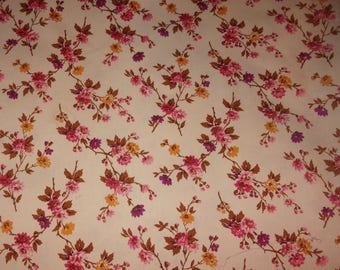 Old fabric, branches of flowers, vintage