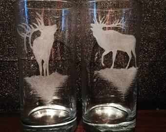 Beautiful etched elk pint glasses